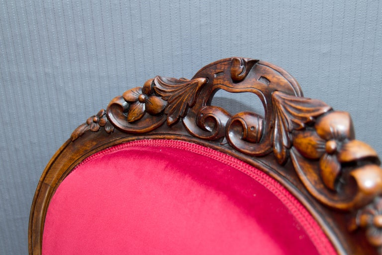 Pair of Louis XV Style French Fauteuil Walnut Armchairs For Sale 6