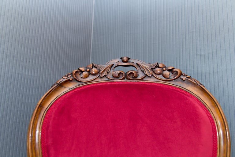 Pair of Louis XV Style French Fauteuil Walnut Armchairs For Sale 7