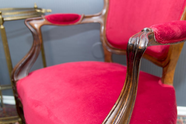 Pair of Louis XV Style French Fauteuil Walnut Armchairs For Sale 8