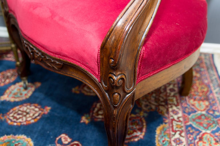 Pair of Louis XV Style French Fauteuil Walnut Armchairs For Sale 9