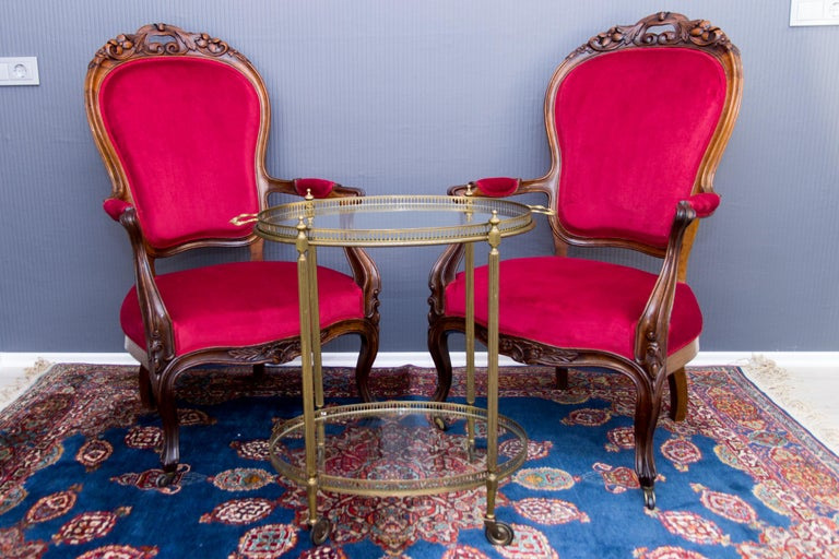Pair of Louis XV Style French Fauteuil Walnut Armchairs For Sale 12