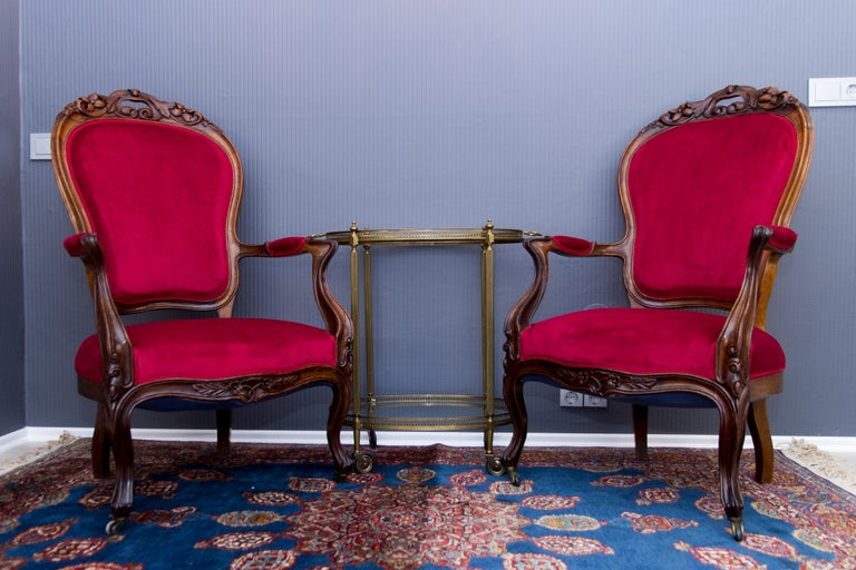 Pair of Louis XV Style French Fauteuil Walnut Armchairs For Sale 13