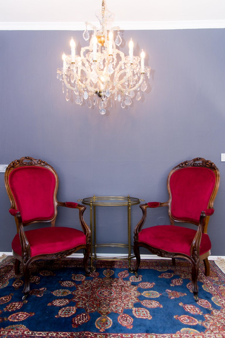 Pair of Louis XV Style French Fauteuil Walnut Armchairs For Sale 14