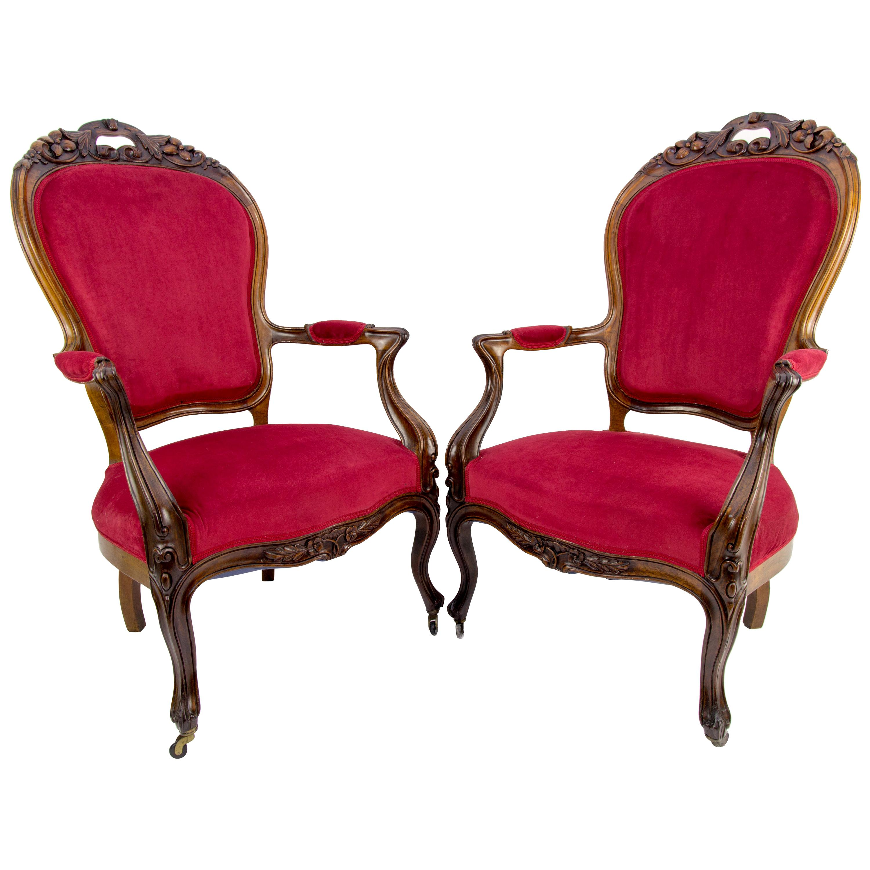 Pair of Louis XV Style French Fauteuil Walnut Armchairs