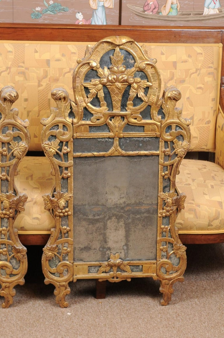 Hand-Carved Pair of Louis XV Style French Giltwood Mirrors For Sale