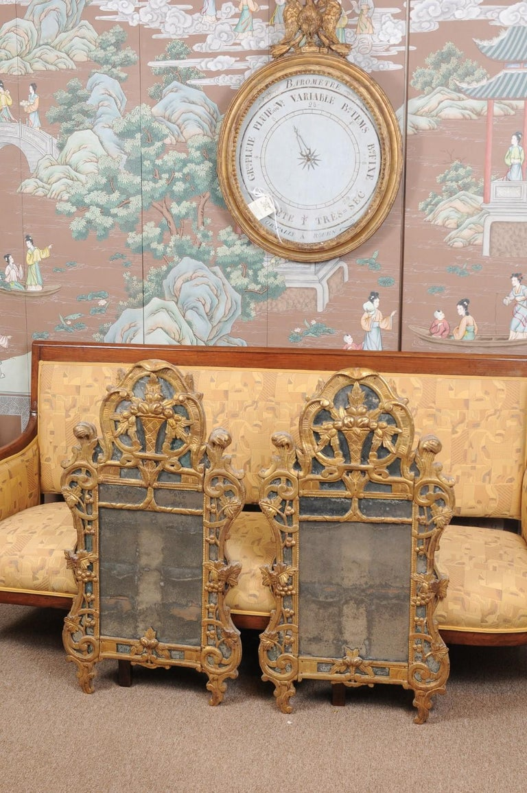 Pair of Louis XV Style French Giltwood Mirrors In Good Condition For Sale In Atlanta, GA