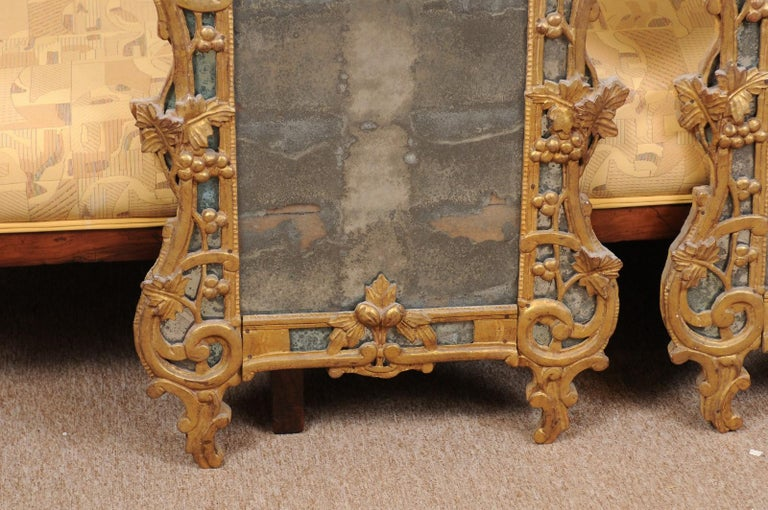 Pair of Louis XV Style French Giltwood Mirrors For Sale 3