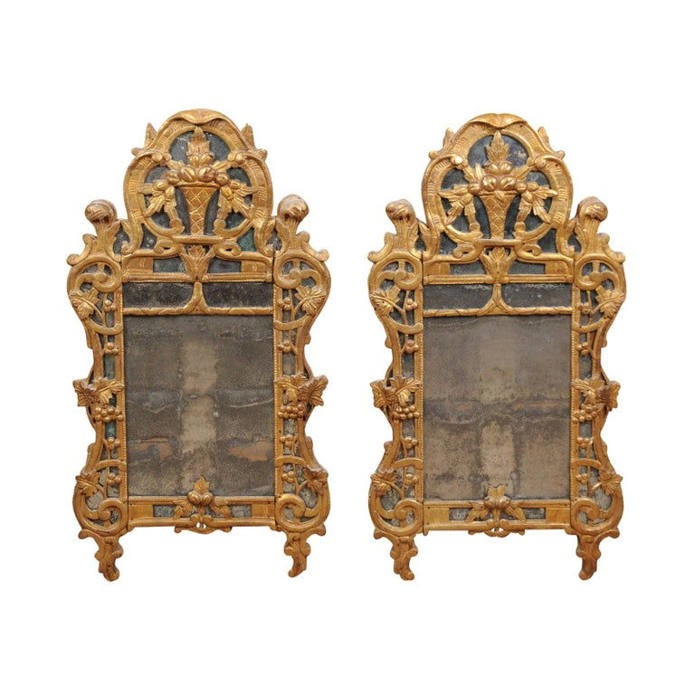 Pair of Louis XV Style French Giltwood Mirrors For Sale