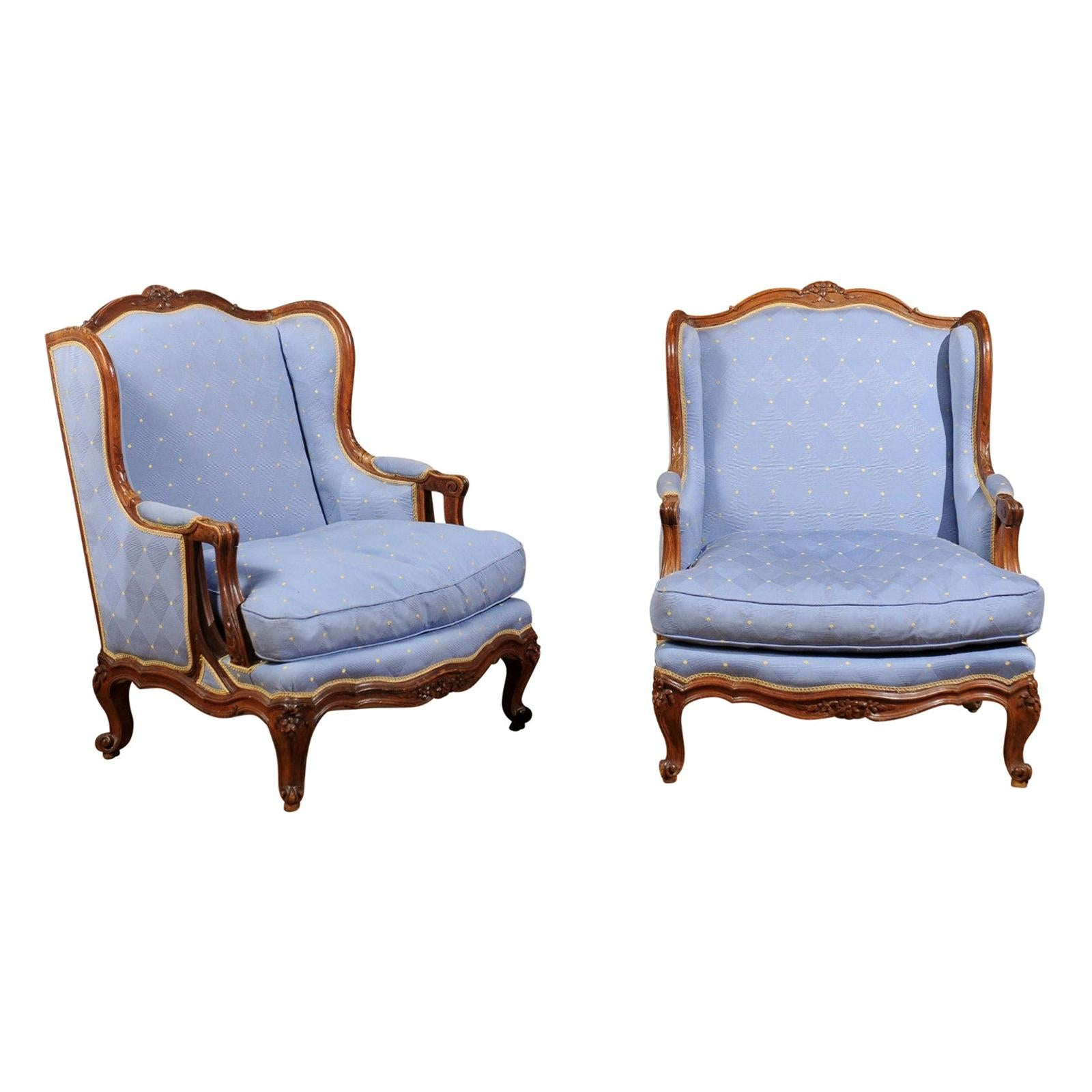 Pair of Louis XV Style French Wingback Bergères à Oreilles with Blue Upholstery