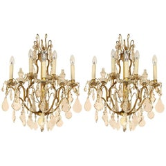 Pair of Louis XV Style Gilt-Bronze and Cut-Crystal 5-Light Sconce or Wall Lights
