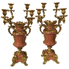 Pair of Louis XV-Style Gilt Bronze Mounted Candelabra, Mounted Pink Marble