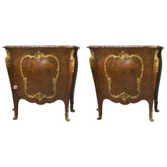 Pair of Louis XV Style Gilt Bronze Mounted Kingwood Marble Top Commode