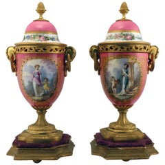 Pair of Louis XV Style Gilt Bronze Mounted Paris Pink Porcelain Covered Urns