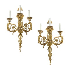 Pair of Louis XV Style Gilt Bronze Three-Light Wall Sconces