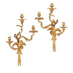 Pair of Louis XV Style Gilt Bronze Wall Sconces