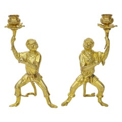Pair of Louis XV Style Gilt Metal Monkey Candleholders