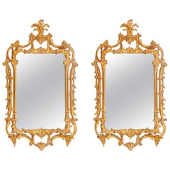 Pair of Louis XV Style Gilt Wall Console or Pier Mirrors with Beveled Glass