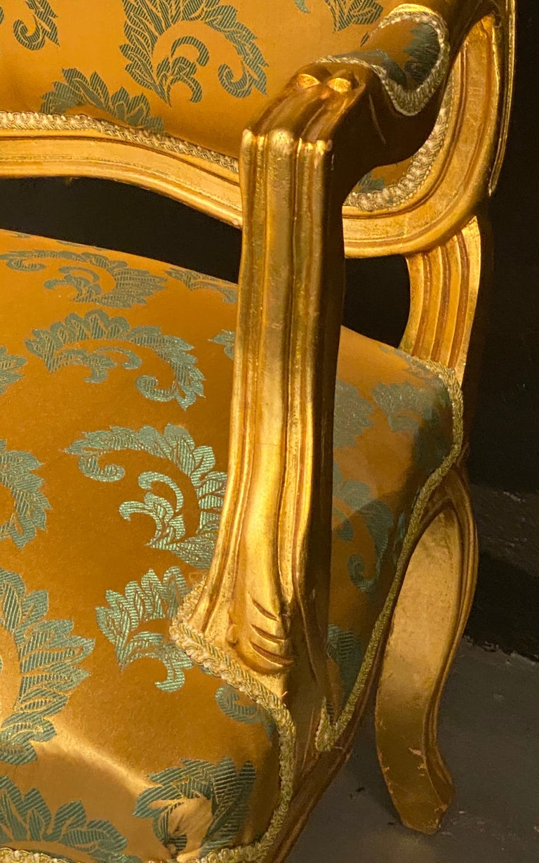 Pair of Louis XV Style Giltwood Fauteuils or Armchairs For Sale 6