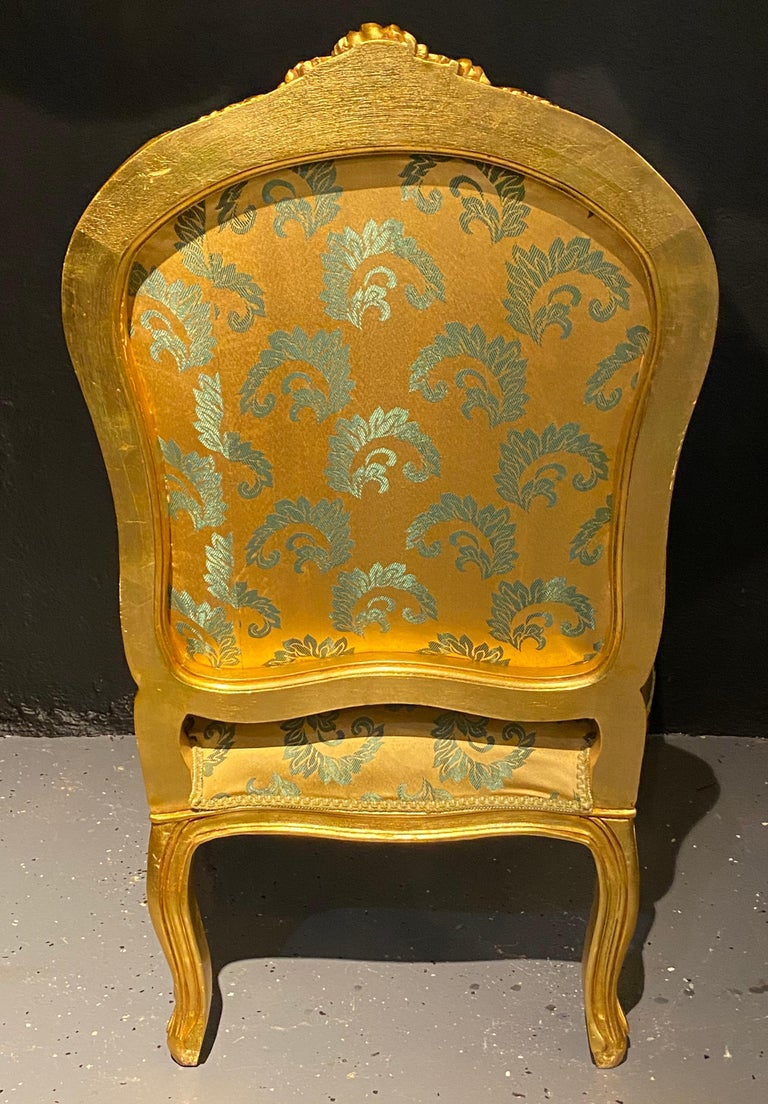 20th Century Pair of Louis XV Style Giltwood Fauteuils or Armchairs For Sale