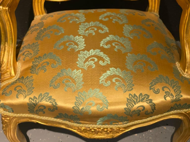Pair of Louis XV Style Giltwood Fauteuils or Armchairs For Sale 2