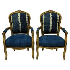 Pair of Louis XV Style Giltwood Armchairs in African Mudcloth