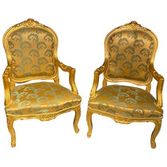 Pair of Louis XV Style Giltwood Fauteuils or Armchairs
