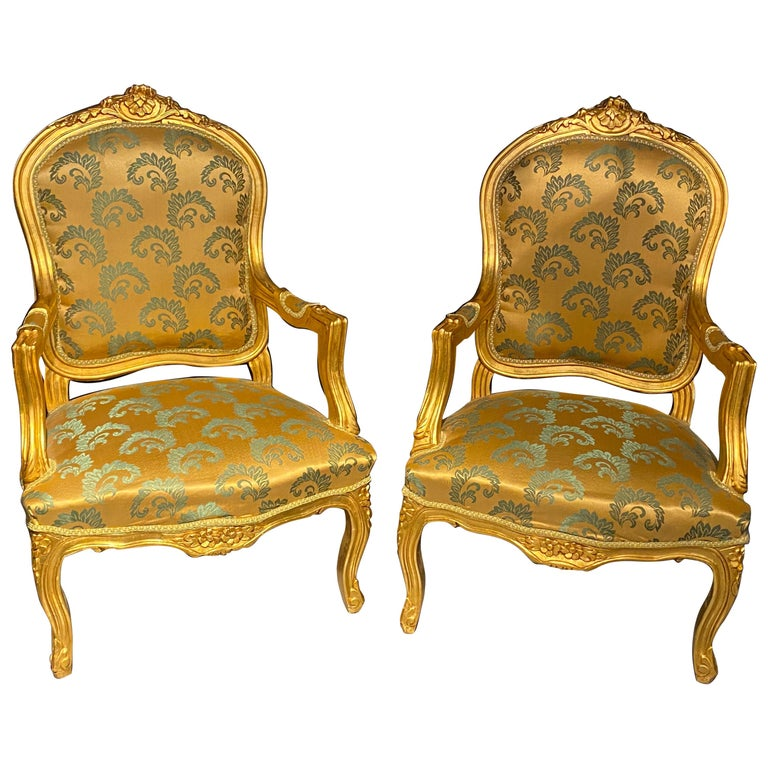 Pair of Louis XV Style Giltwood Fauteuils or Armchairs For Sale