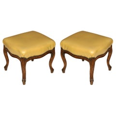 Pair of Louis XV Style Leather Upholstered Benches