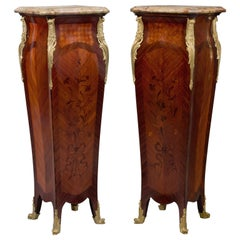 Pair Of Louis XV Style Marquetry Inlaid Pedestals, circa 1880