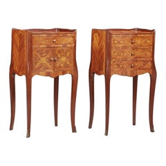 Pair of Louis XV Style Marquetry Nightstand