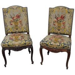 Pair of Louis XV Style Needlepoint Chairs