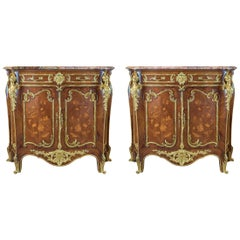Pair of Louis XV-Style Ormolu-Mounted Marble-Top Credenza by Fontainebleau