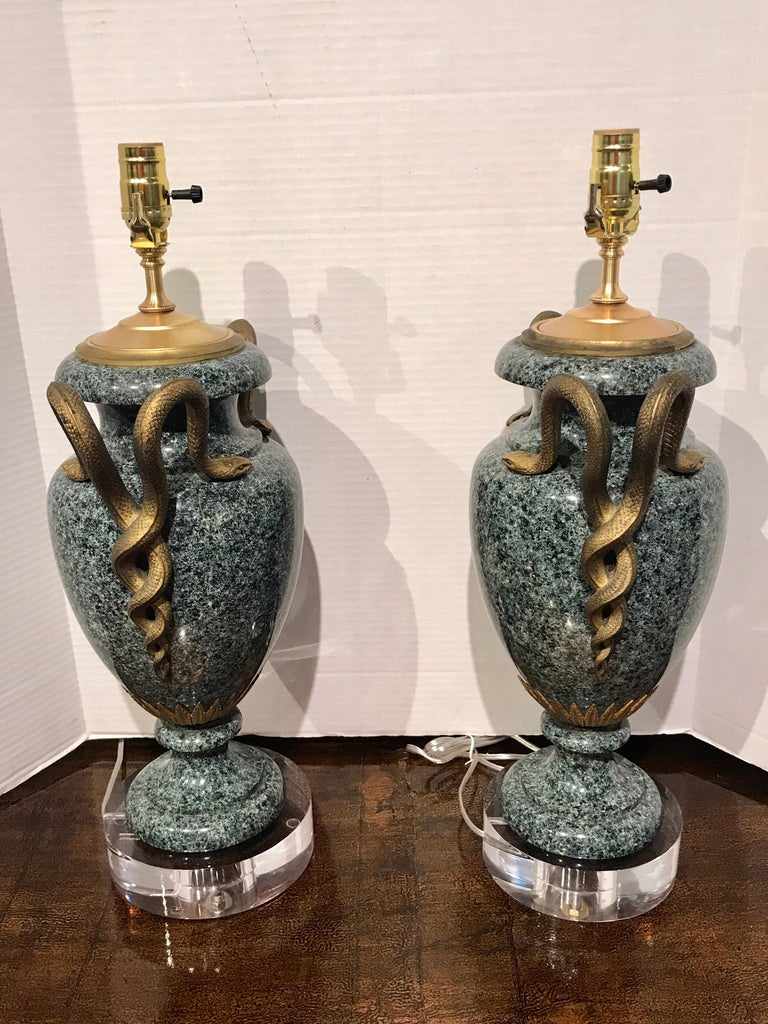 Pair of Louis XV Style Ormolu-Mounted Porphyry Urns, Now as Lamps For Sale 2