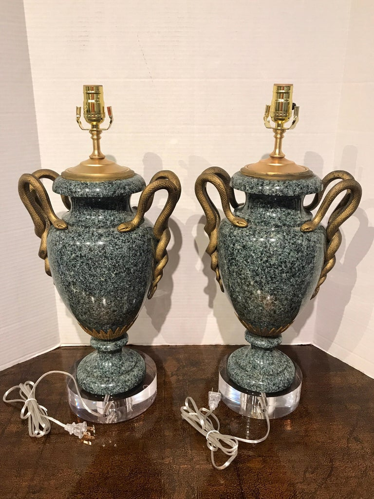 Pair of Louis XV Style Ormolu-Mounted Porphyry Urns, Now as Lamps For Sale 3