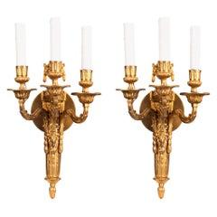 Pair of Louis XV Style Ormolu Three-Light Wall Sconces