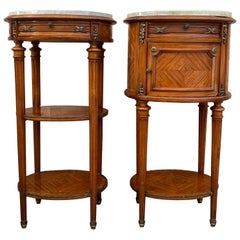 Pair of Louis XV Style Oval Marble-Top Bronze Mounts Nightstands End Table