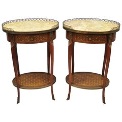 Pair of Louis XV Style Oval Marble-Top Marquetry Inlay Nightstands End Table