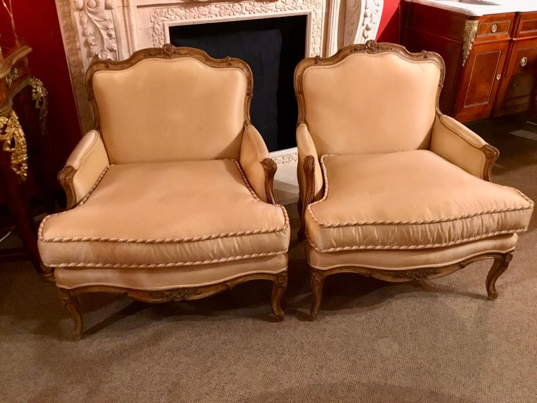 Hardwood Pair of Louis XV-Style Painted and Carved Bergere Chairs, 20th Century For Sale