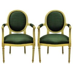 Pair of Louis XV Style Painted and Gilded Armchairs in Sage Green Silk