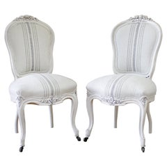 Pair of Louis XV Style Painted and Upholstered Side Chairs