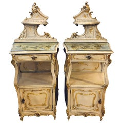Pair of Louis XV Style Painted Cabinets, Nightstands or End Tables