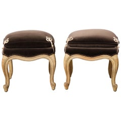 Pair of Louis XV Style Painted Stools