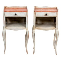 Pair of Louis XV Style Painted Tables with Faux Marbleized Top