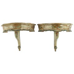 Pair of Louis XV Style Painted Wall Shelves