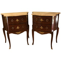 Pair of Louis XV Style Petite French Commodes