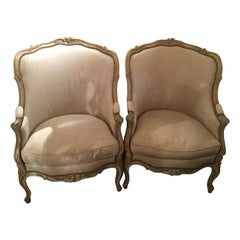 Pair of Louis XV-Style Polychromed Beechwood Bergeres, Early 20th Century