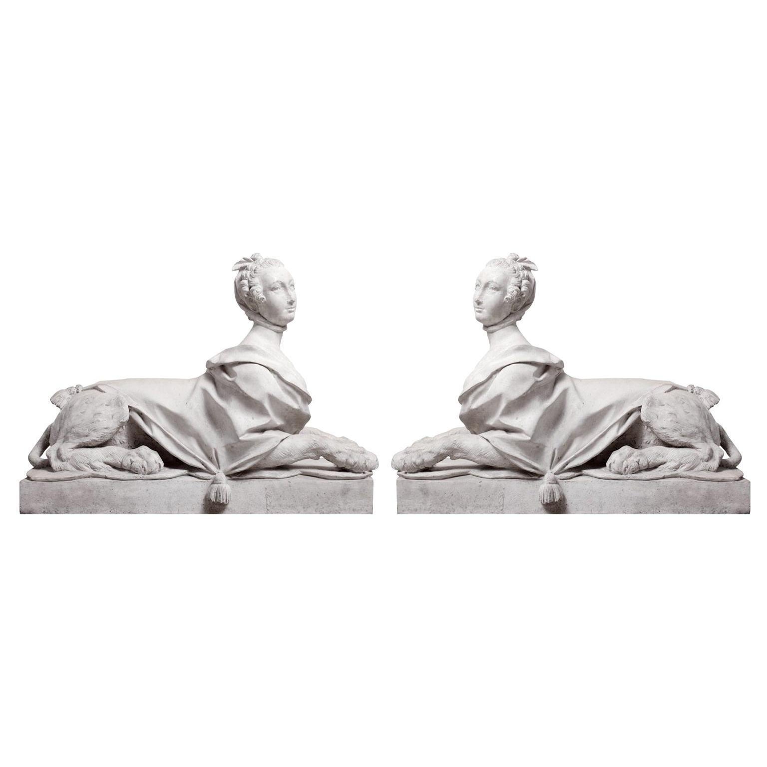 Pair of Louis XV Style Sculpture of Madame de Pompadour as Sphinxes