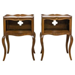 Pair of Louis XV Style Side Cabinets Clovers Nightstands French Bedside Tables