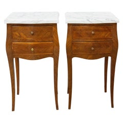 Pair of Louis XV Style Side Cabinets Nightstands French Bedside Tables Mable Top