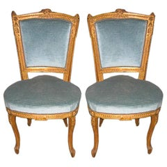 Pair of Louis XV Style Side Chairs in Original Gilt Finish